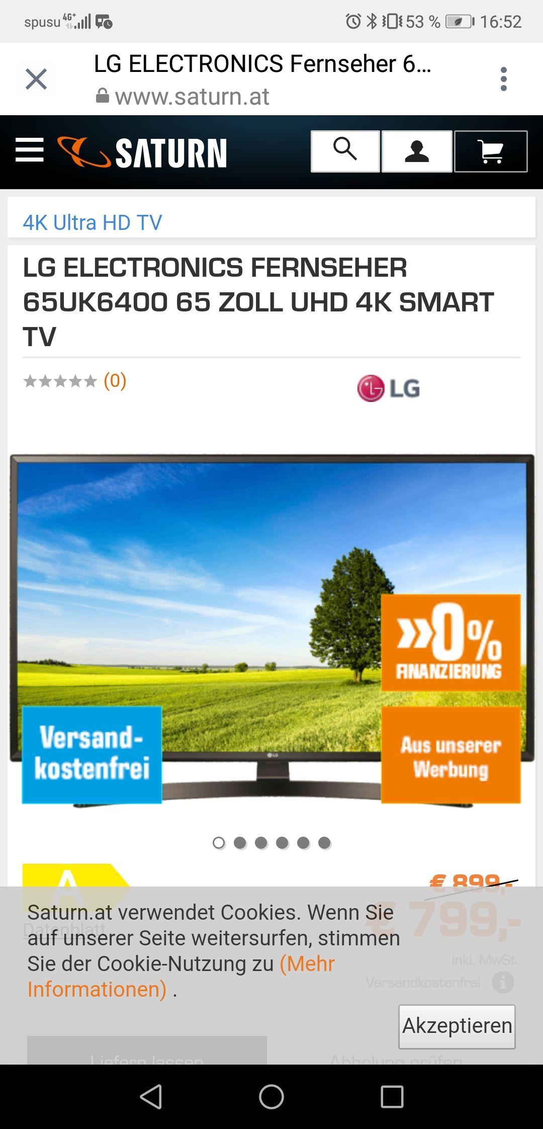 LG ELECTRONICS FERNSEHER 65UK6400 65 ZOLL UHD 4K SMART TV