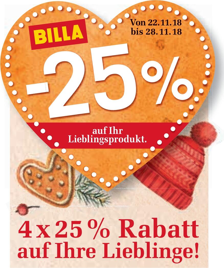 [Billa] -25% Rabatt Sticker                     -> z.B. Sodastream 2.0 + 3 Karaffen um nur 81,75€ statt 109€ uvm.
