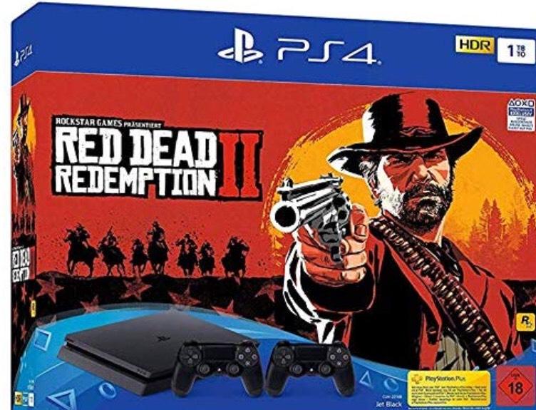PlayStation 4 - Konsole( 1TB, schwarz, slim) inkl. Red Dead Redemption 2 + 2 DualSchock Controller