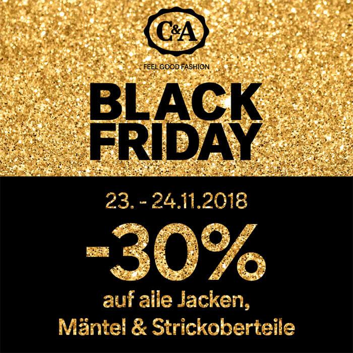 C&A Black Friday - 30% Rabatt auf Outerwear und Strickoberteile
