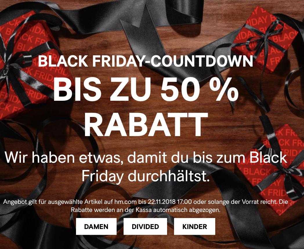 H&M: Black Friday Countdown - bis zu 50% Rabatt