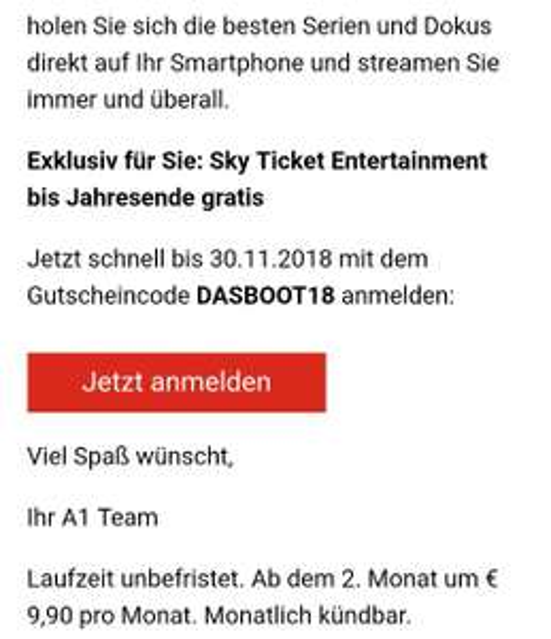 [SKY] 1 Monat Gratis Entertainment Ticket für alle A1 Mobile Kunden