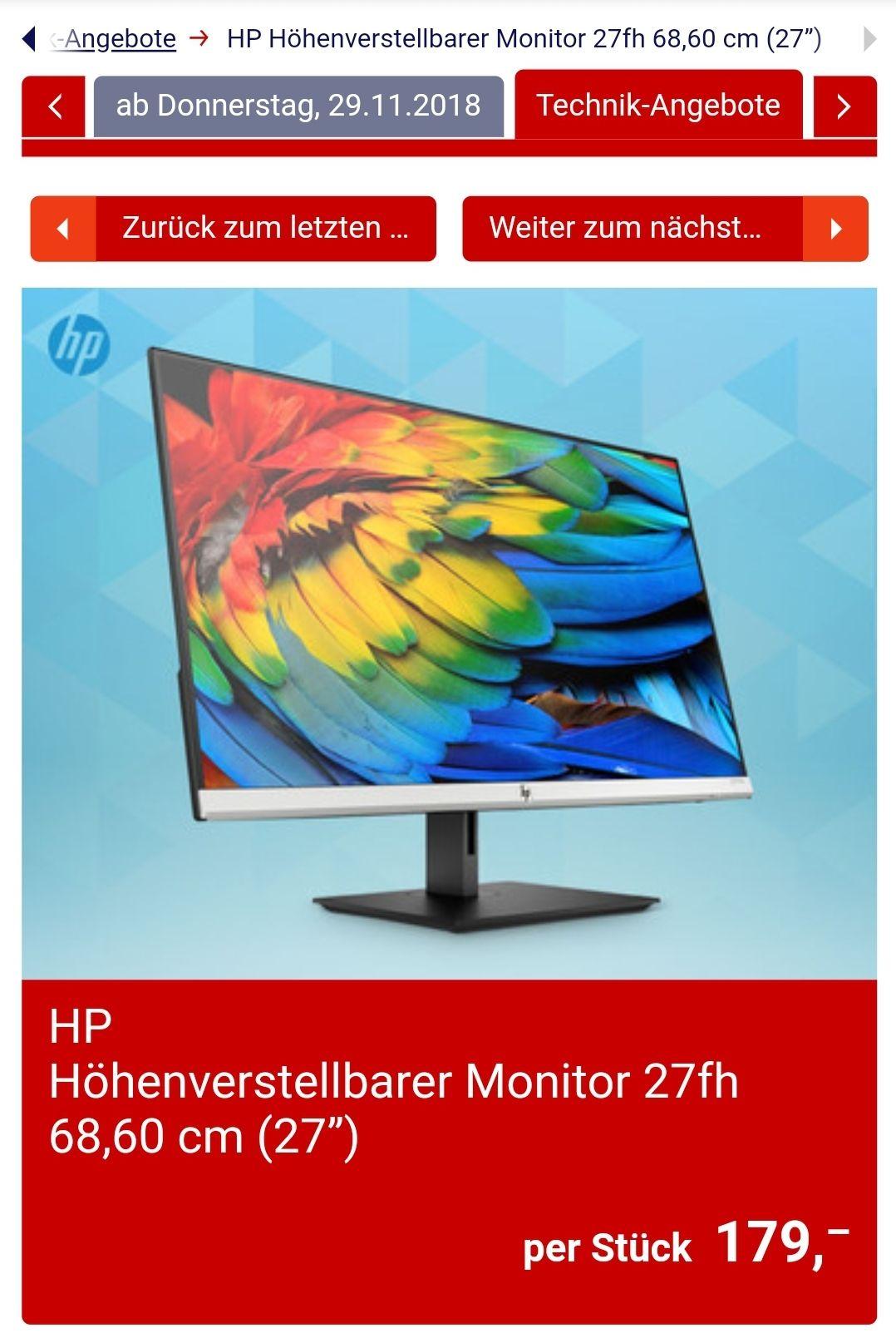 "HP Höhenverstellbarer Monitor 27fh 68,60 cm (27"")"