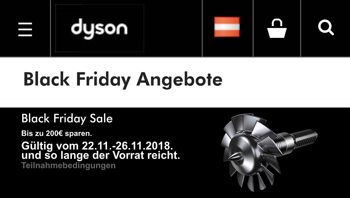 Dyson shop Black Friday Sale (V7 Black Edition um 235€ /V8 Black Edition um 305€ )