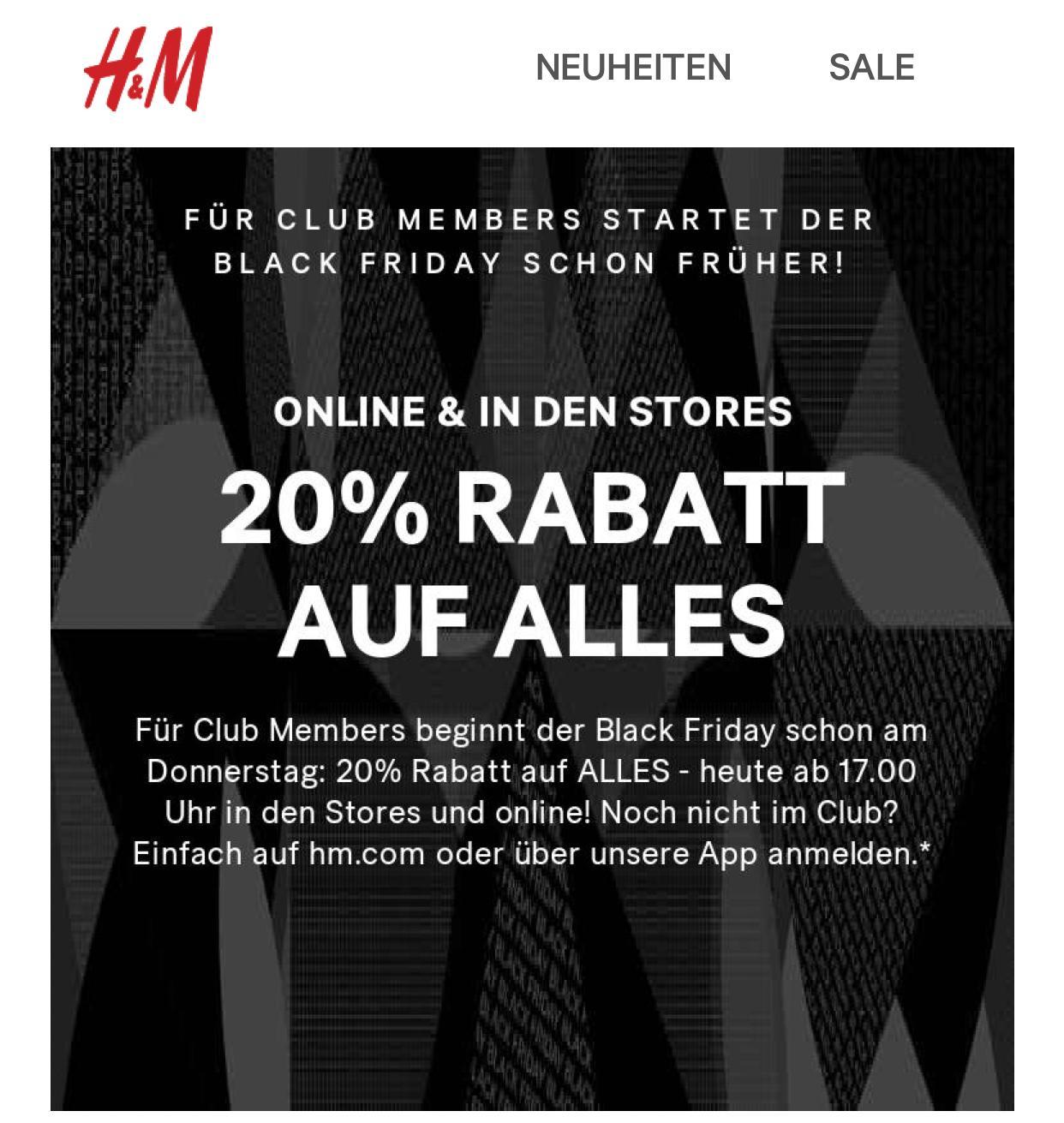H&M Clubmitglieder: 20% auf alles ab 17 Uhr