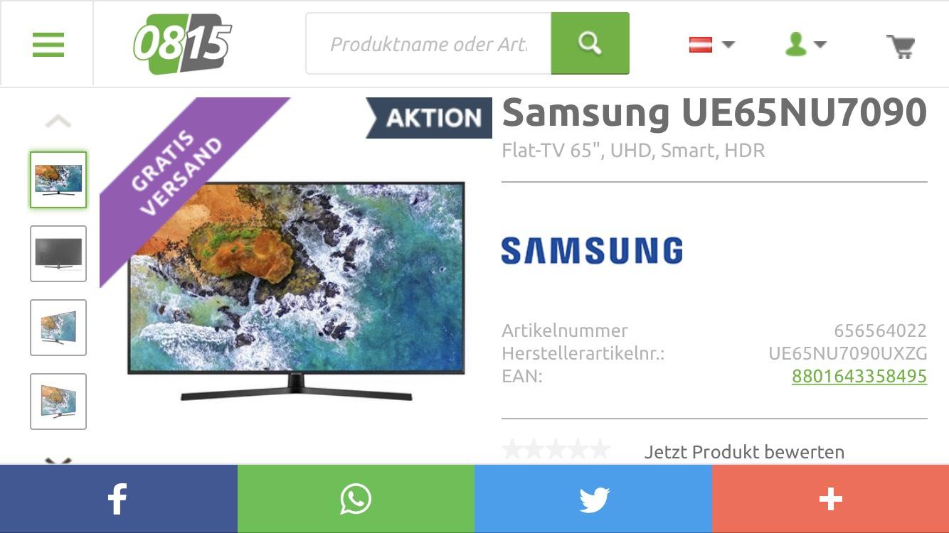 0815.at: Samsung 65 Zoll zum Bestpreis