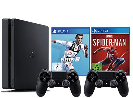 PS4 Slim 1TB + 2. Controller + Spider-Man + Fifa 19 / Black Ops 4 [GameStop]