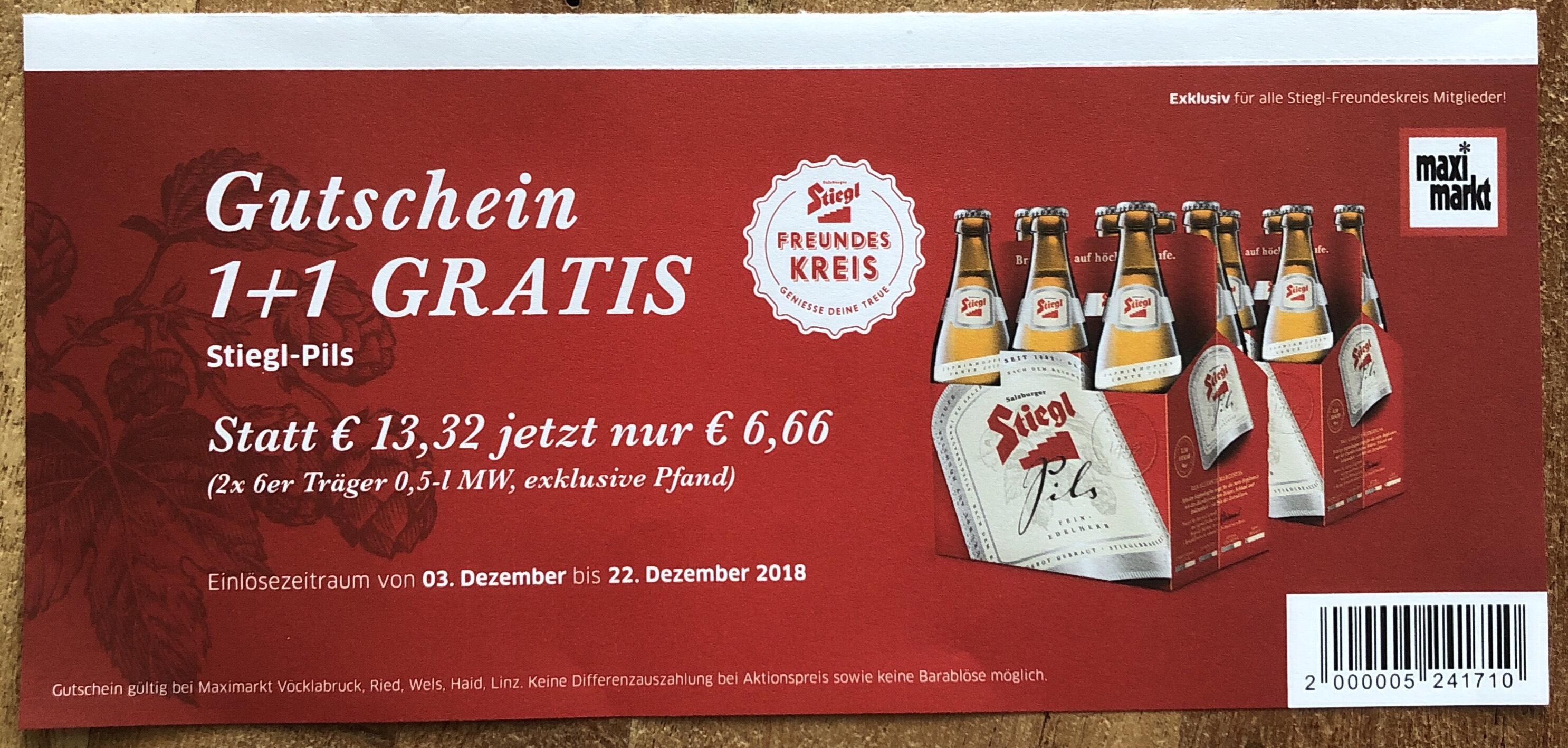 Stiegl Pils 6er 1+1 gratis (maxi.markt)