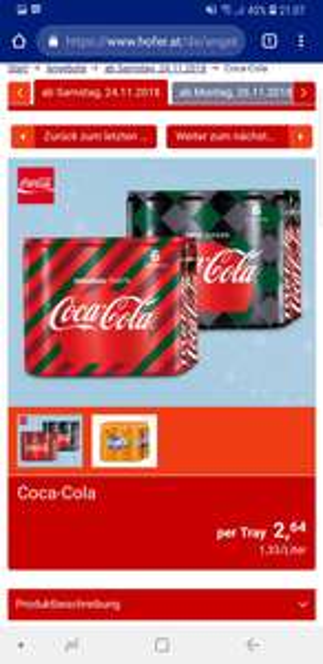 Cola, Cola Zero und Fanta 0.44 € pro