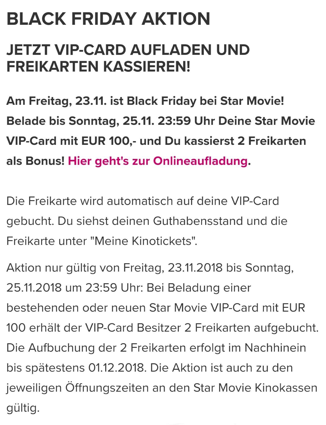 STARMOVIE: 2 Freikarten bei €100,- Aufladung