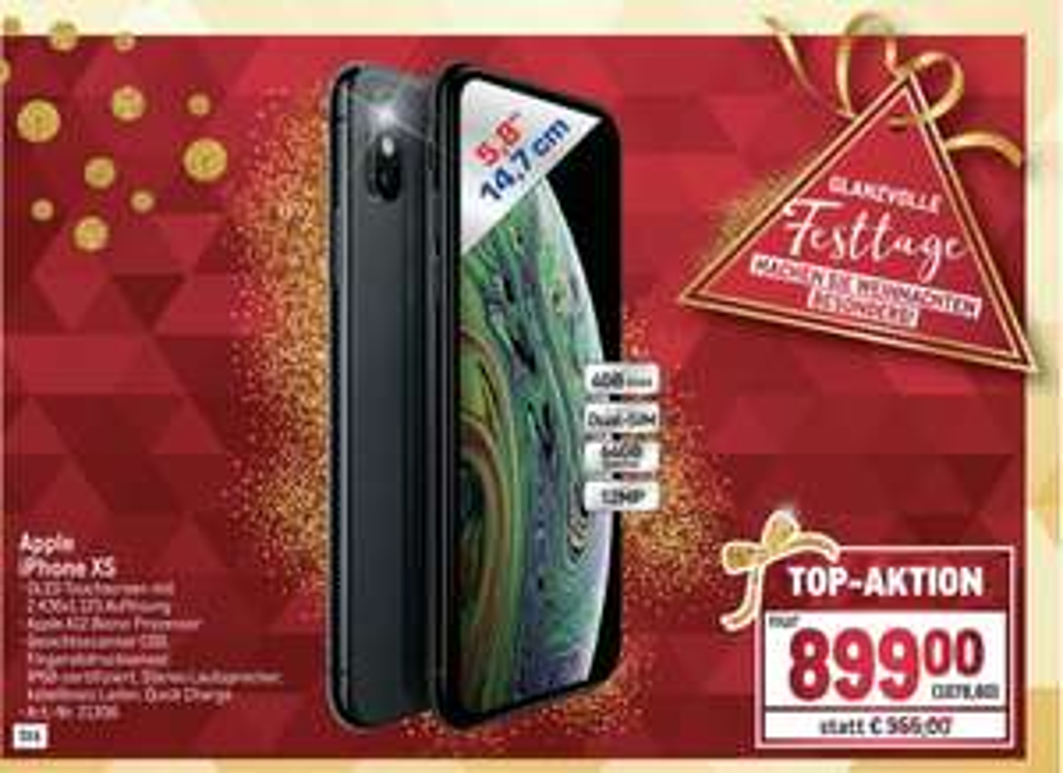 iPhone XS 64GB Metro Aktion am 07.12.2018- 809€