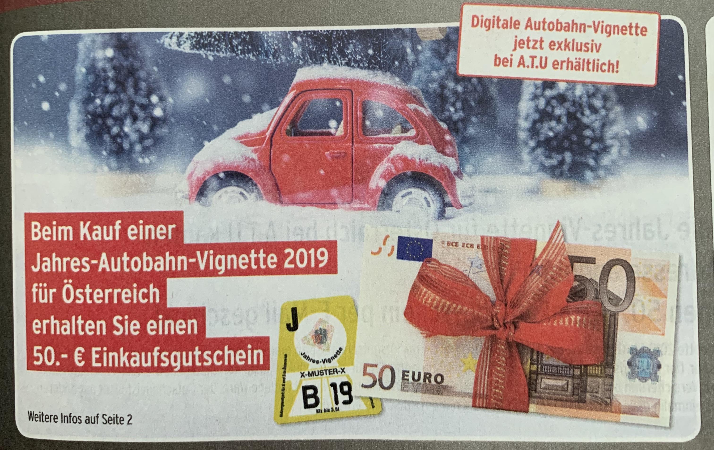 A.T.U 50€ Gutschein bei Kauf einer Jahresvignette