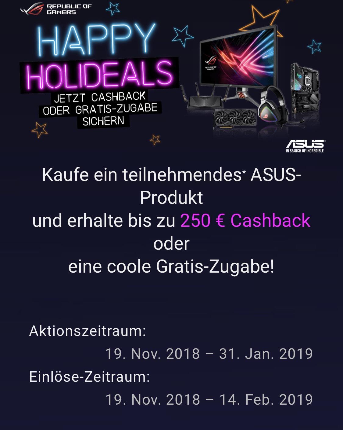 """Asus Cashback Aktion """"250€"""""""