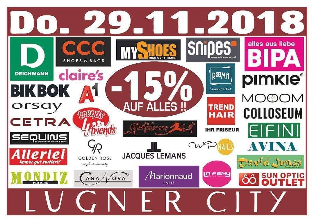 Lugner City: -15% auf alles in 30 Shops