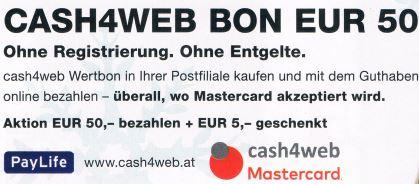 [Post] CASH4WEB BONS +10% Guthaben ideal für Amazon, PayPal & Co nur am 4.12. !!!