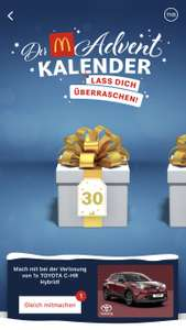 McDonald's Adventskalender 30.11/ Big Mac, Mc Chicken oder Fish Mäc um 1€
