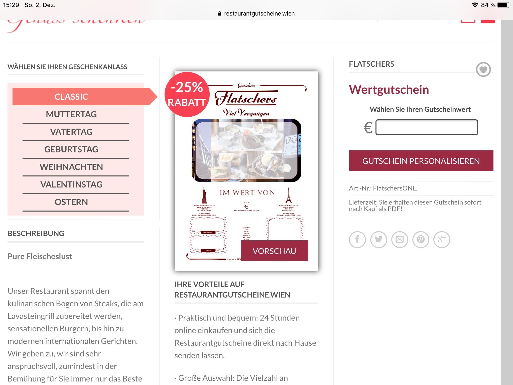 Flatschers Wertgutschein -25%