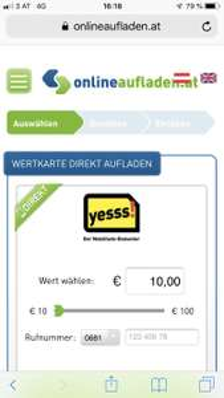 Yesss: EURO 3,— Bonus ab EURO 10,— Aufladung