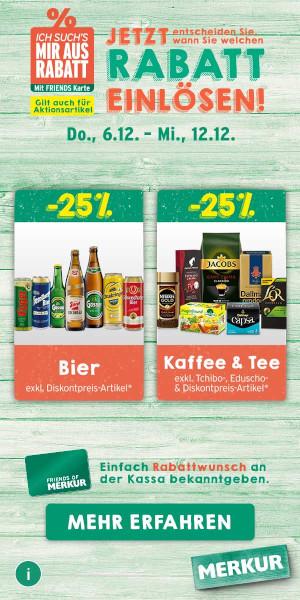 MERKUR: ICH SUCH ES MIR Aus Rabatt auf Bier und Kaffee