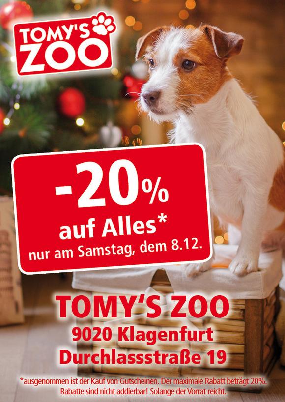 -20% auf Alles* am 08.12.2018 bei Tomy´s-Zoo Klagenfurt (Regional-Deal Klagenfurt)