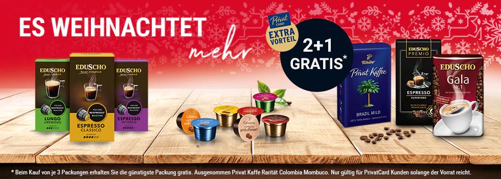 Tchibo Kaffee 2+1 gratis, Caffisimo Maschinen -50%