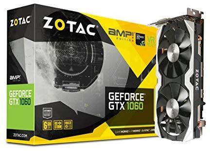 Zotac GeForce GTX 1060 AMP Grafikkarte (NVIDIA, 6GB GDDR5, 192bit, Base-Takt 1556 MHz / Boost-Takt 1771 MHz, 8 GHz)