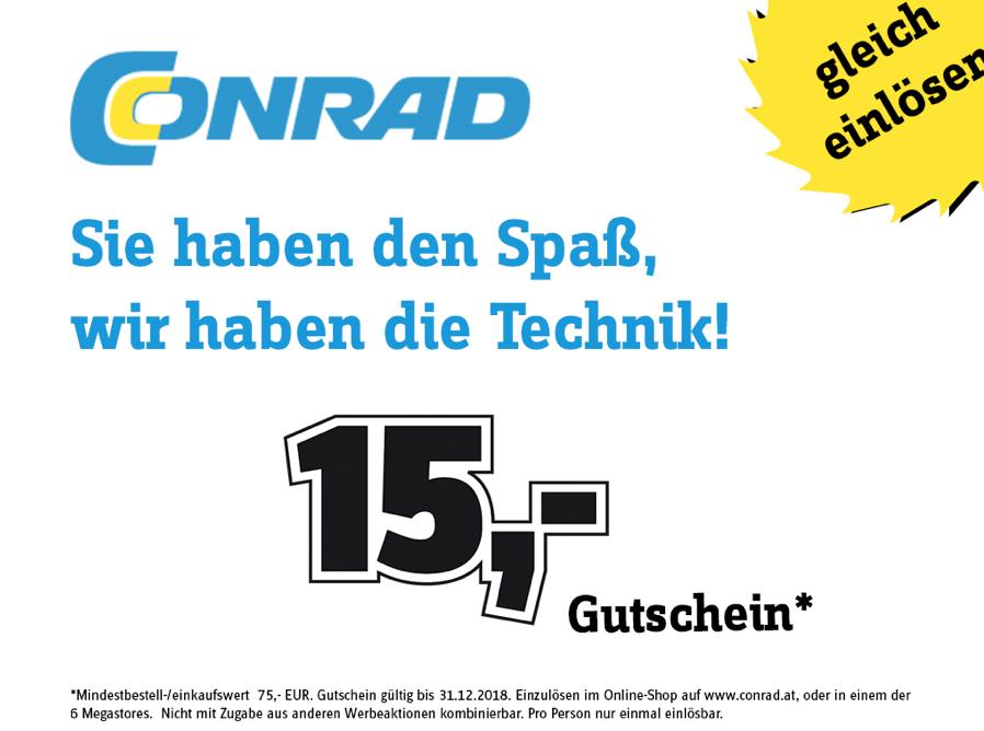 Conrad: 15 € Sofort-Rabatt ab 75 € - bis 31.12.2018