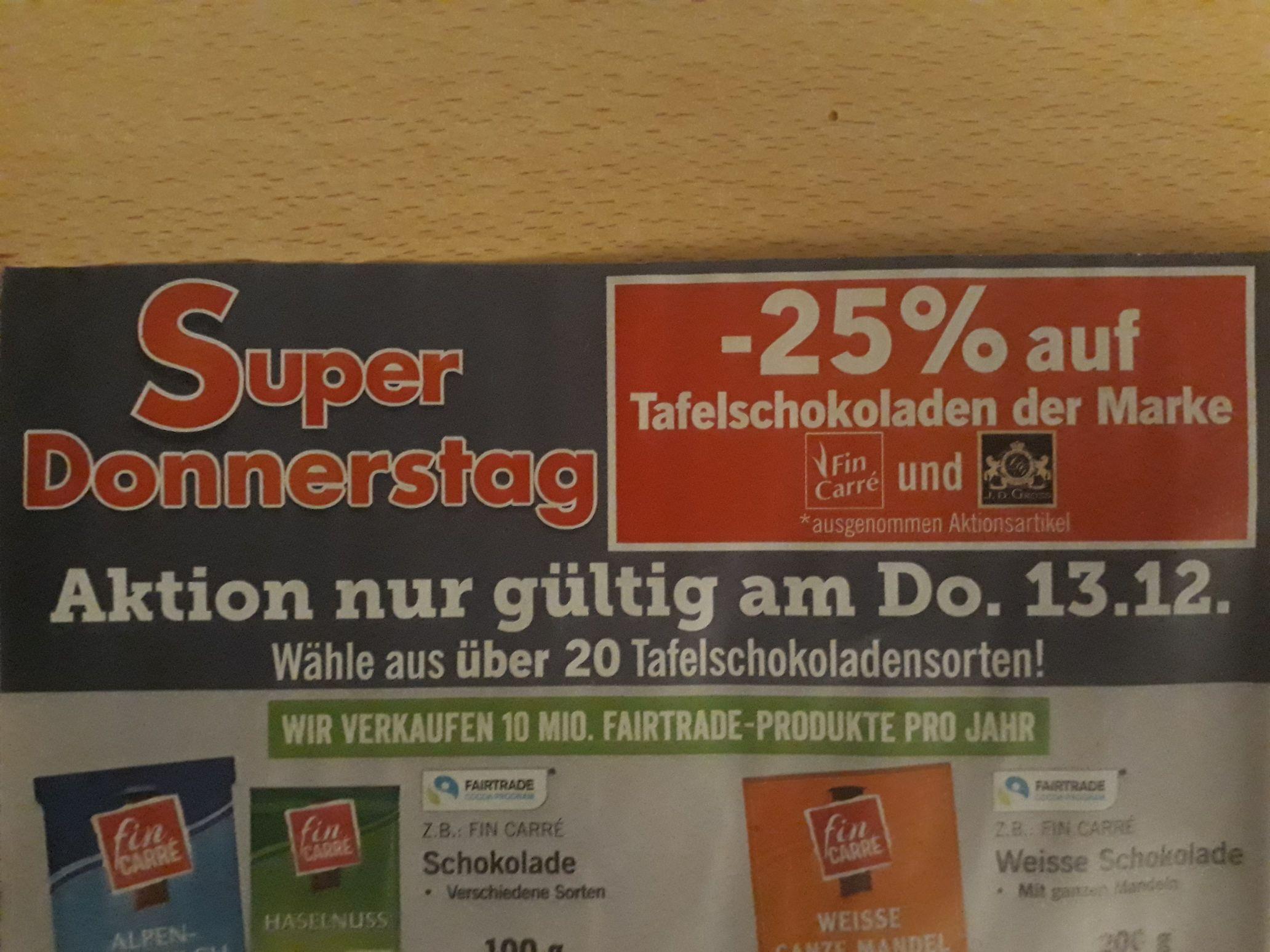 -25% auf viele Schokoladen bei Lidl