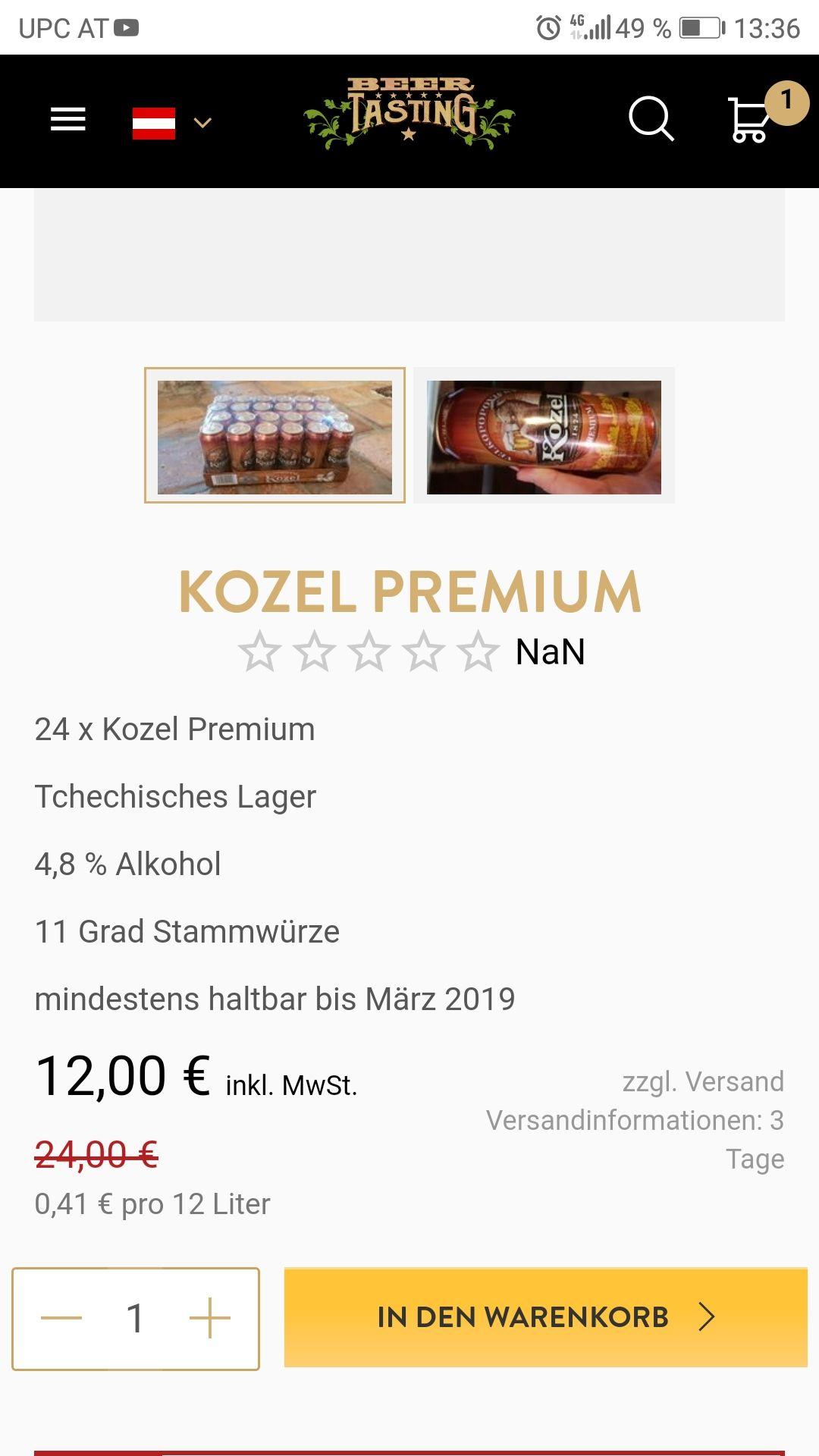 Kozel Premium Bier