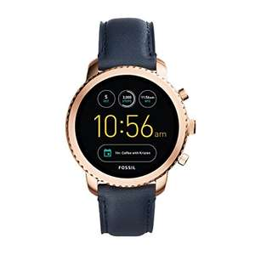Fossil Herren Smartwatch Q Explorist 3. Generation - Leder - Dunkelblau für 125€
