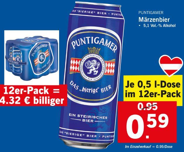 LIDL Puntigamer Bier 12er mit Gutschein ab 48 Dosen oder weniger LESEN ! am 24.12.