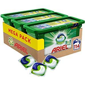 [Amazon] Ariel 3in1 Pods Vollwaschmittel, Mega Pack (3 x 38 Waschladungen)