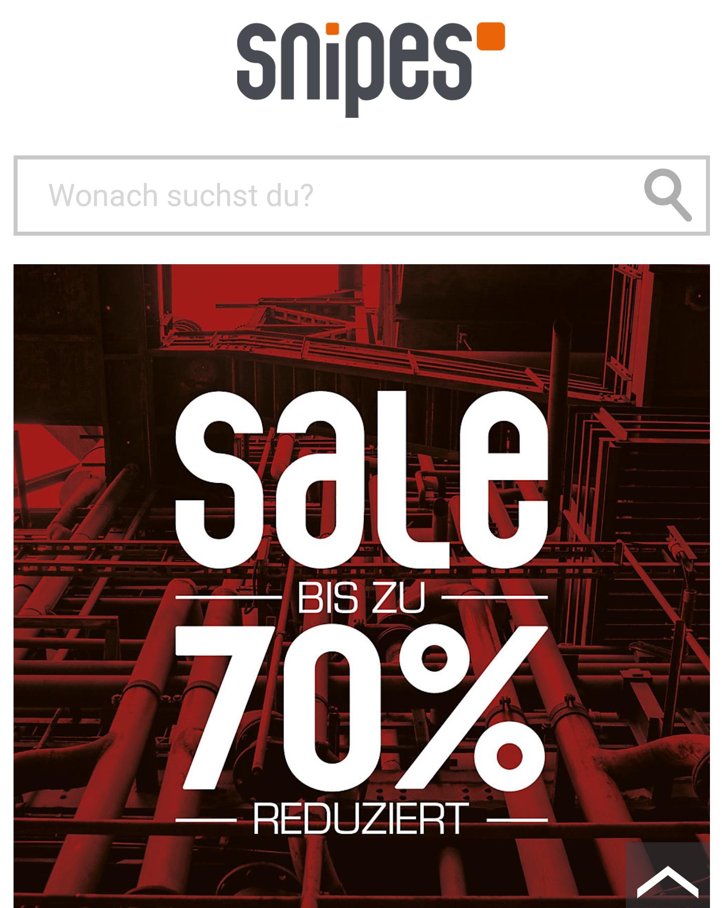 Snipes sale bis -70%  auf ausgewählte Artikel