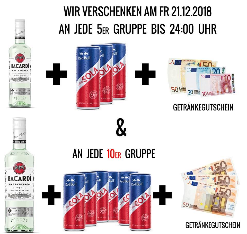 gratis ab 3 oder 5 Personen: Bacardi, Red Bull Cola, bis zu 150€ Getränkegutschein, 21.12.2018 A-Danceclub Millennium Tower