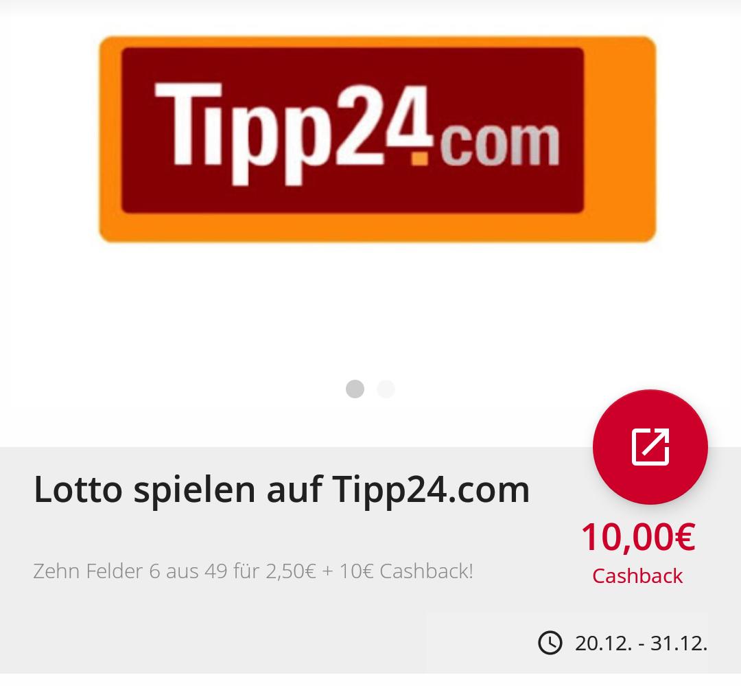 Cashback für Lotto spielen auf tipp24.com