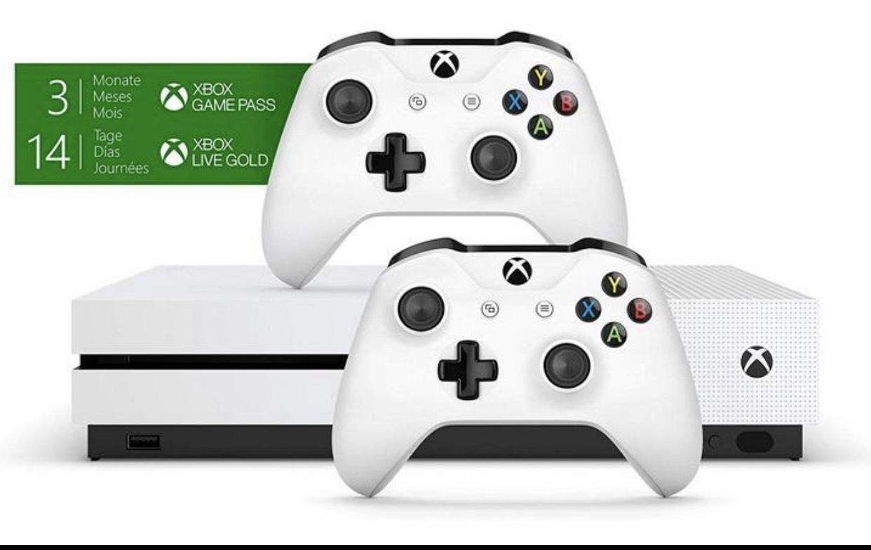 Xbox One S 1TB Konsole - Bundle inkl. 2. Controller + 3 Monate Gamepass + 14 Tage Live Gold für 186,54/ mit Forza Horizon 4 für 196,54€