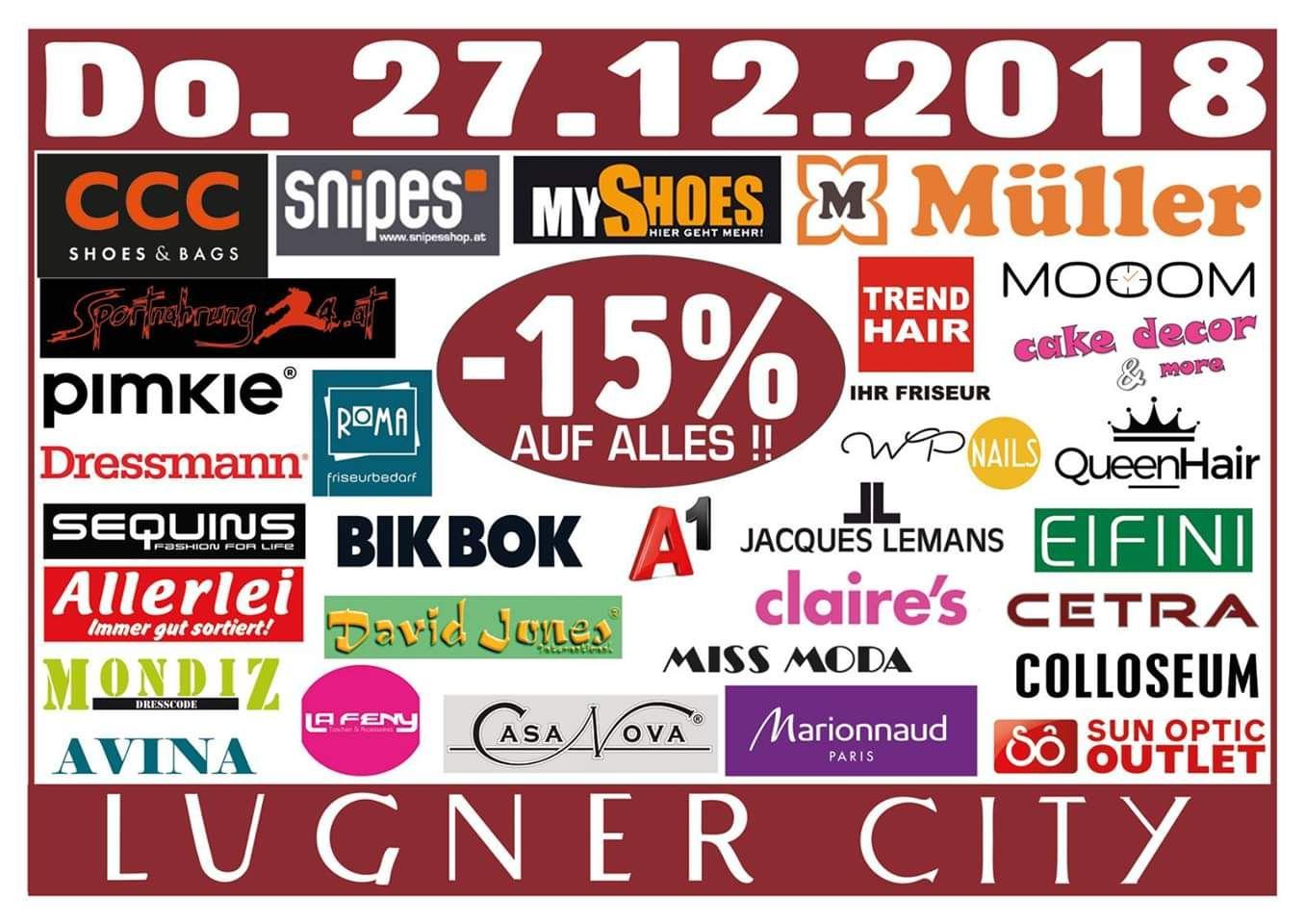 Lugner City: -15% auf alles in 29 Shops