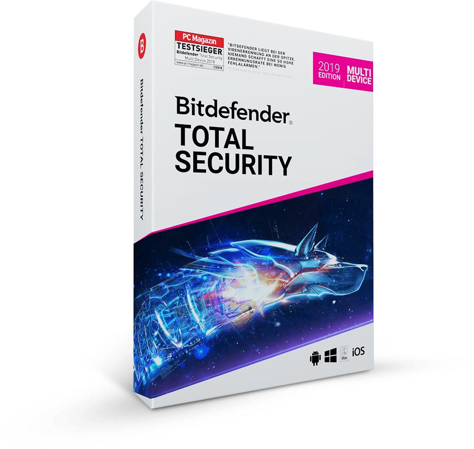 Sicher durch das Jahr 2019 - Bitdefender Total Security Multi Device (1 Jahr/5 Geräte)