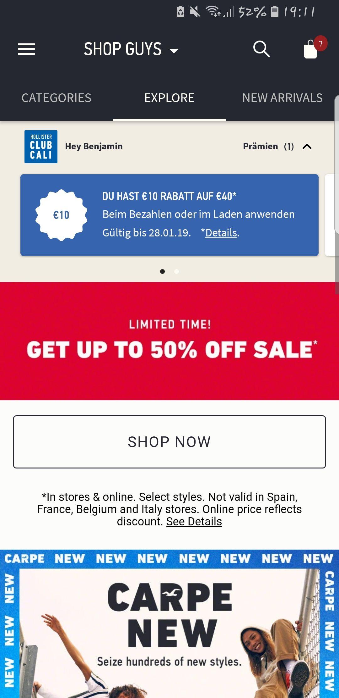 Hollister 50 % Abverkauf auf ausgewählte Produkte