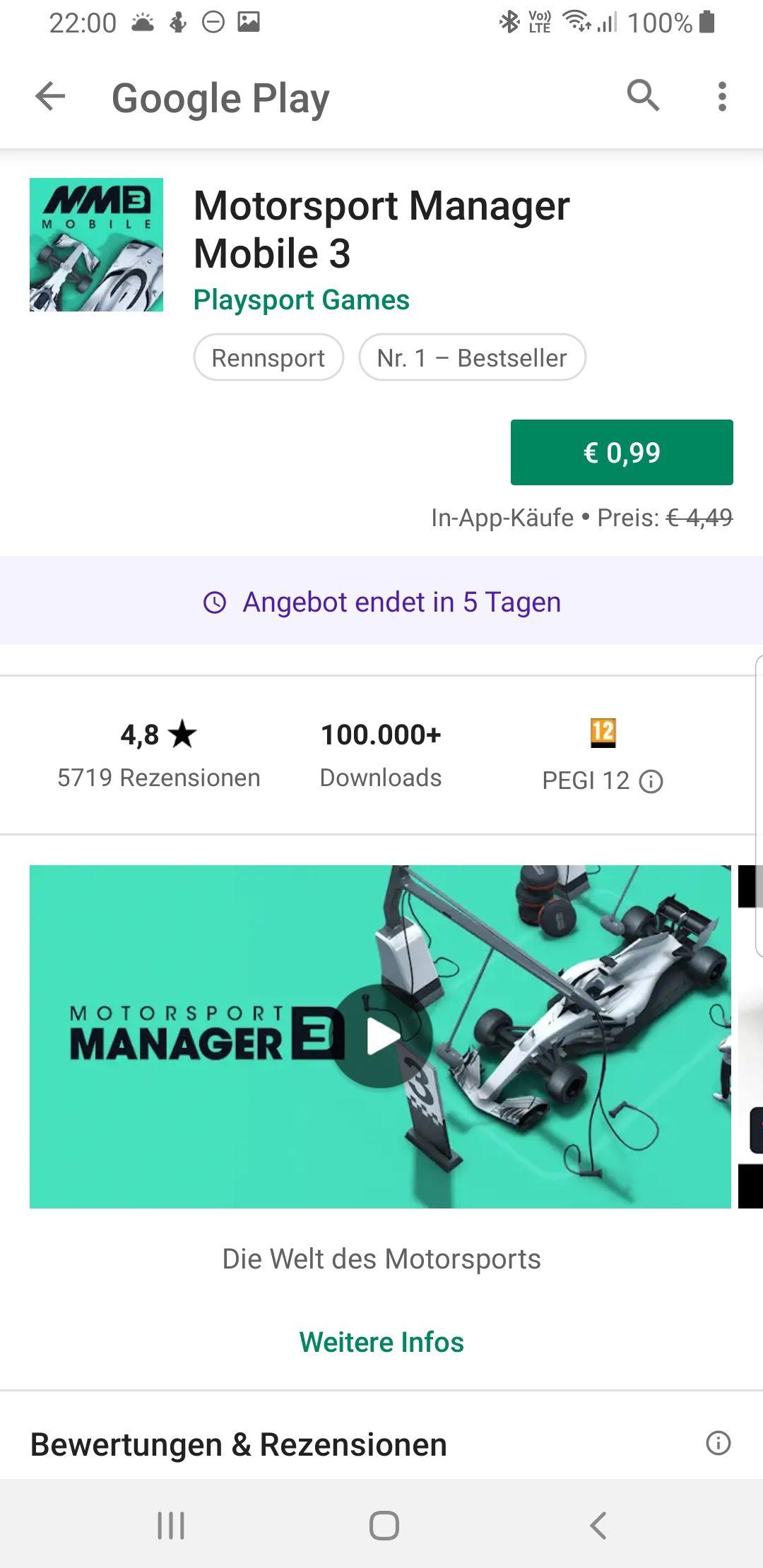 Motorsport Manager 3 für 0.99€ (Android)