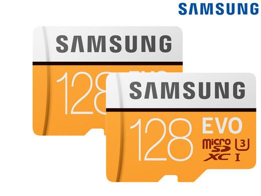 2x Samsung Evo MicroSDXC | 128 GB | inkl. Adaptern für 45,90€