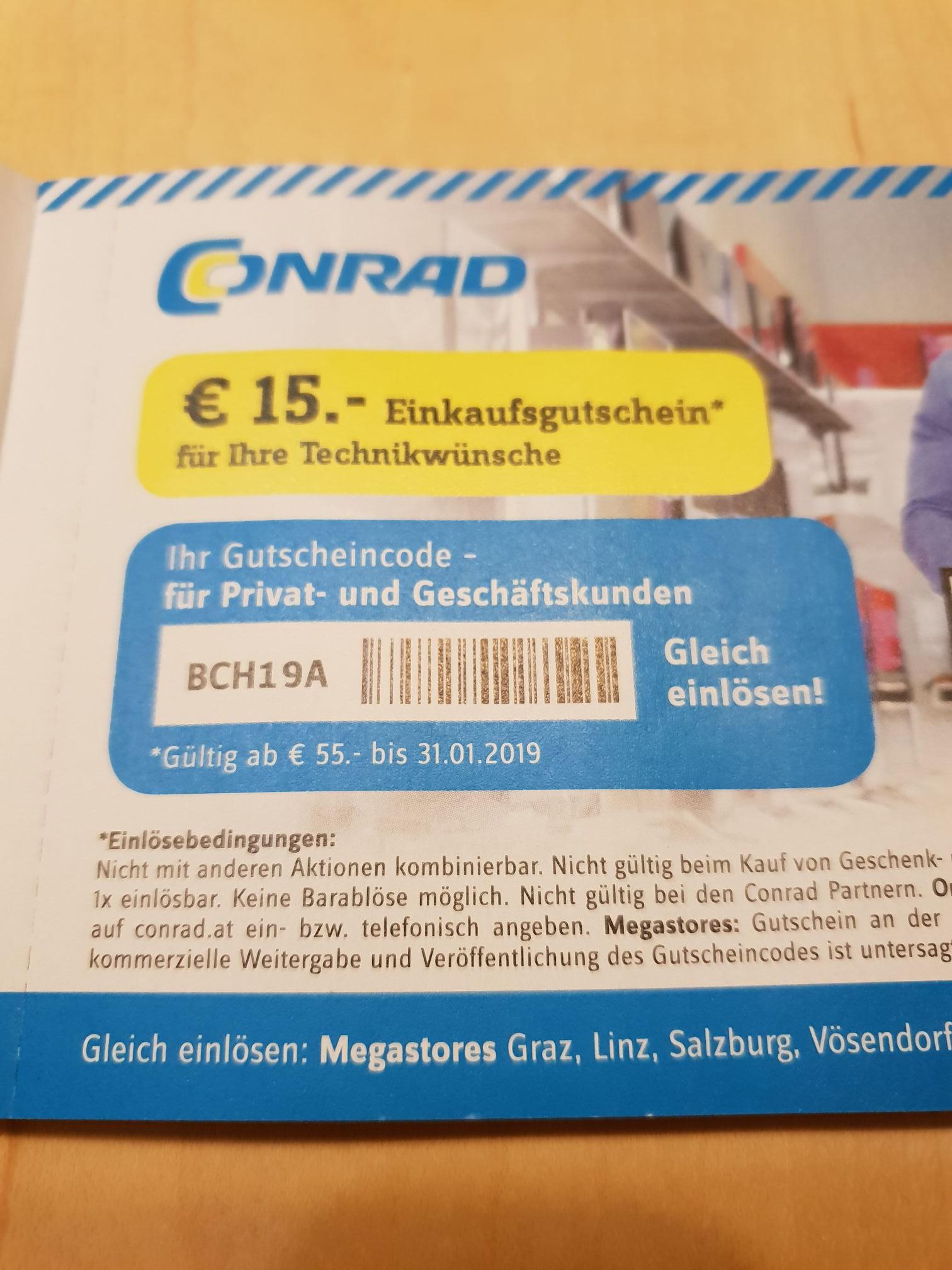 Conrad Gutschein €15 Einkaufsgutschein (Gültig ab €55 Einkaufswert)