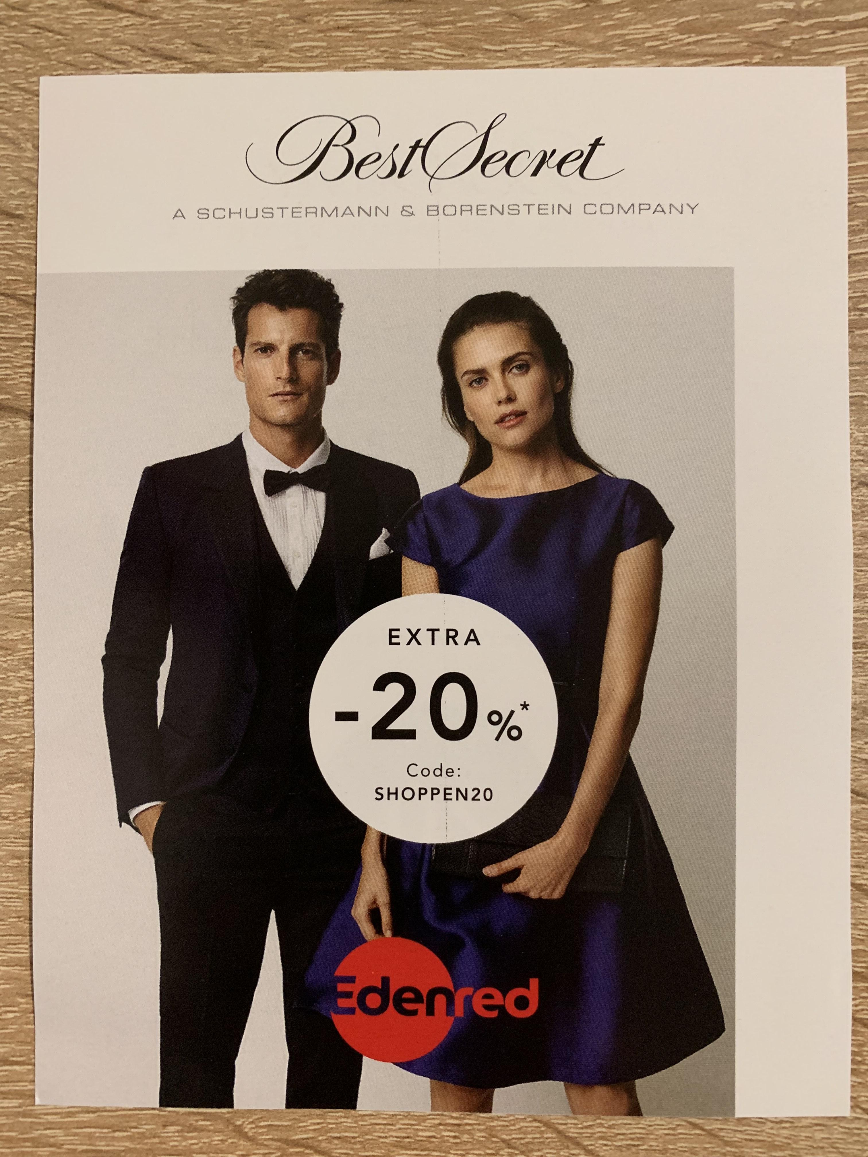 BestSecret -20% (bei Einkauf über Edenred?)