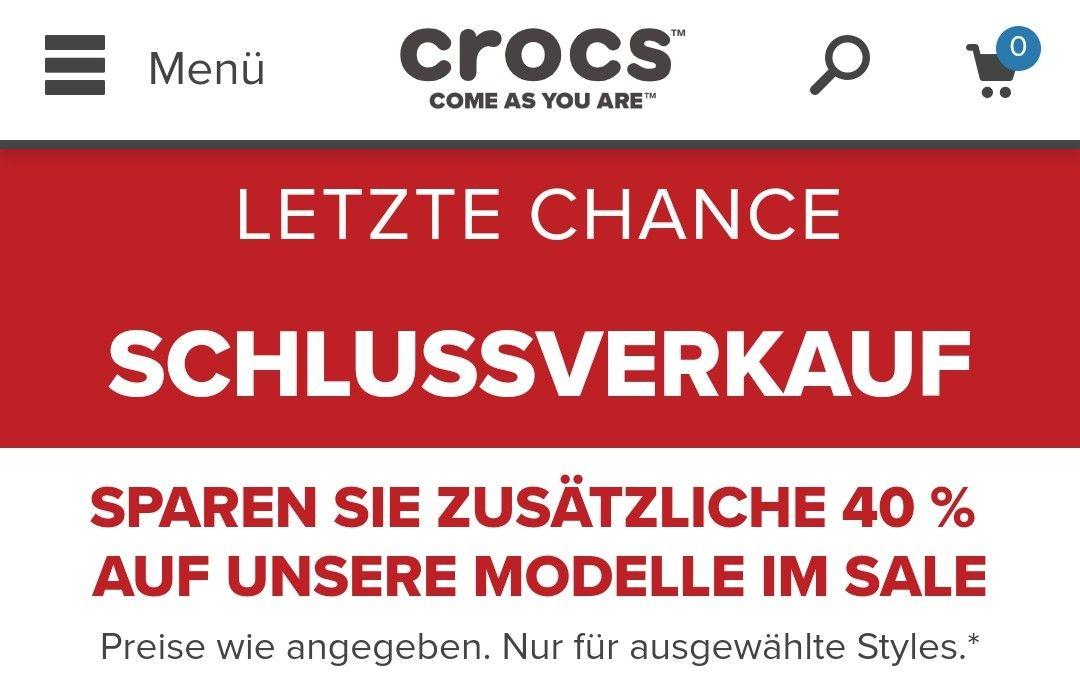 Zusätzlich 40% auf alle Sale Produkte bei Crocs (auch normale Schuhe mit dabei)
