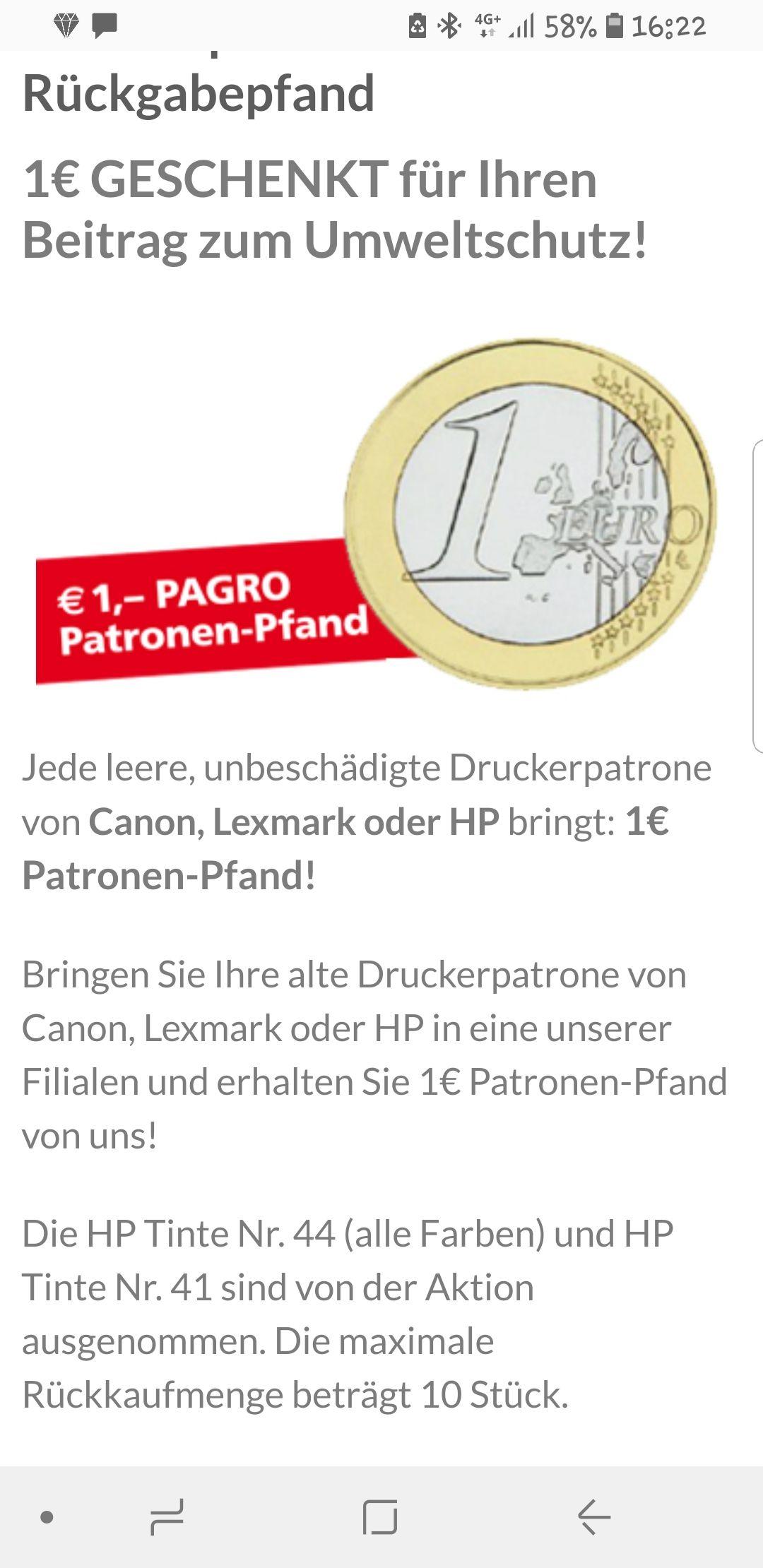 Pagro 1€ für deine leere CANON, Lexmark oder HP Patrone