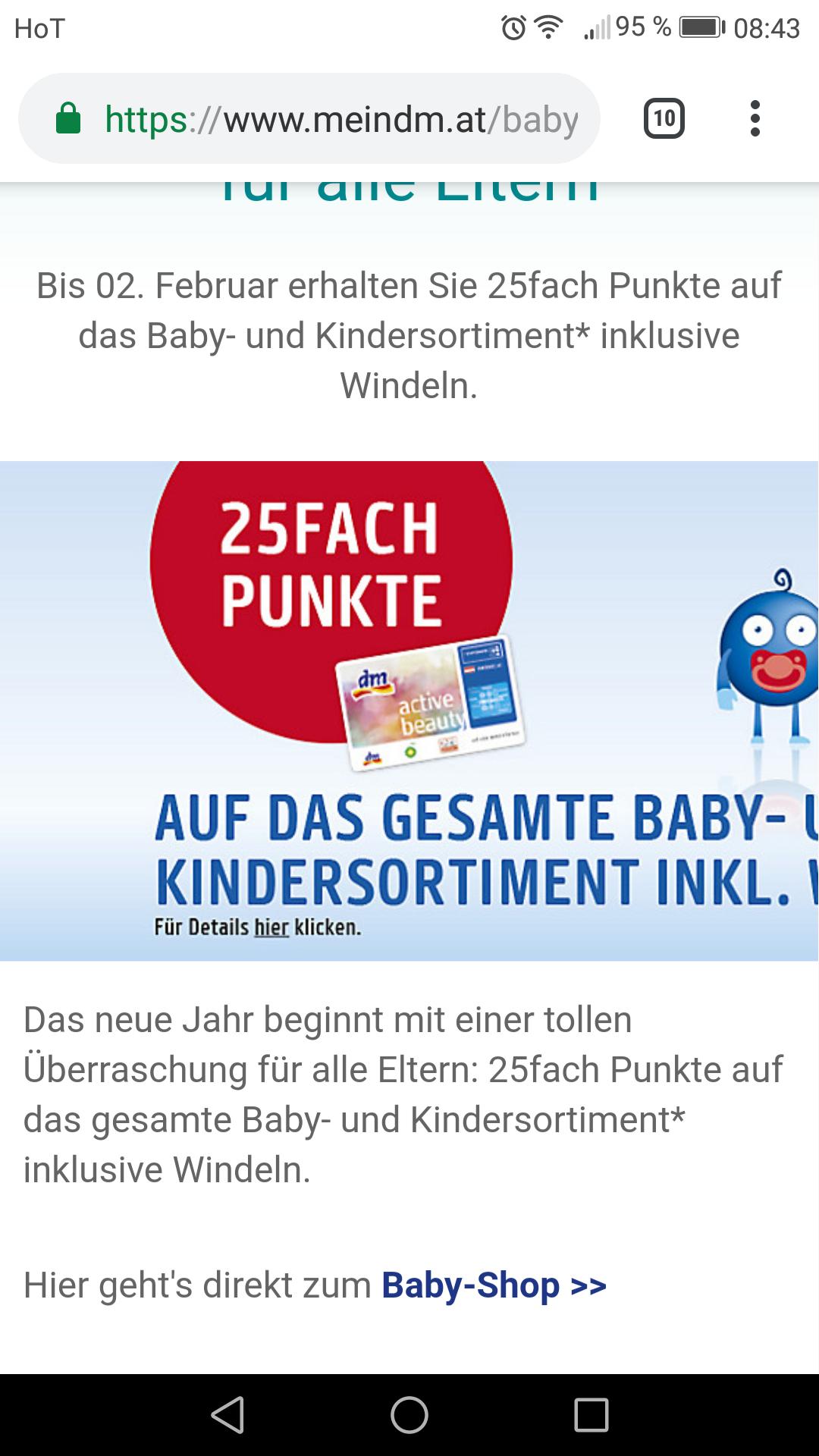 25 Fach Payback Punkte bei DM auf babyprodukte incl windeln