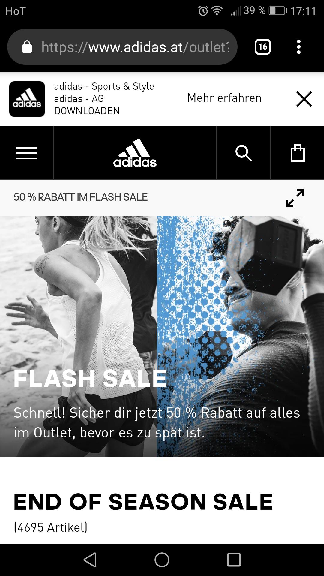 Adidas minus 50 Prozent auf alles im outlet nur noch heute