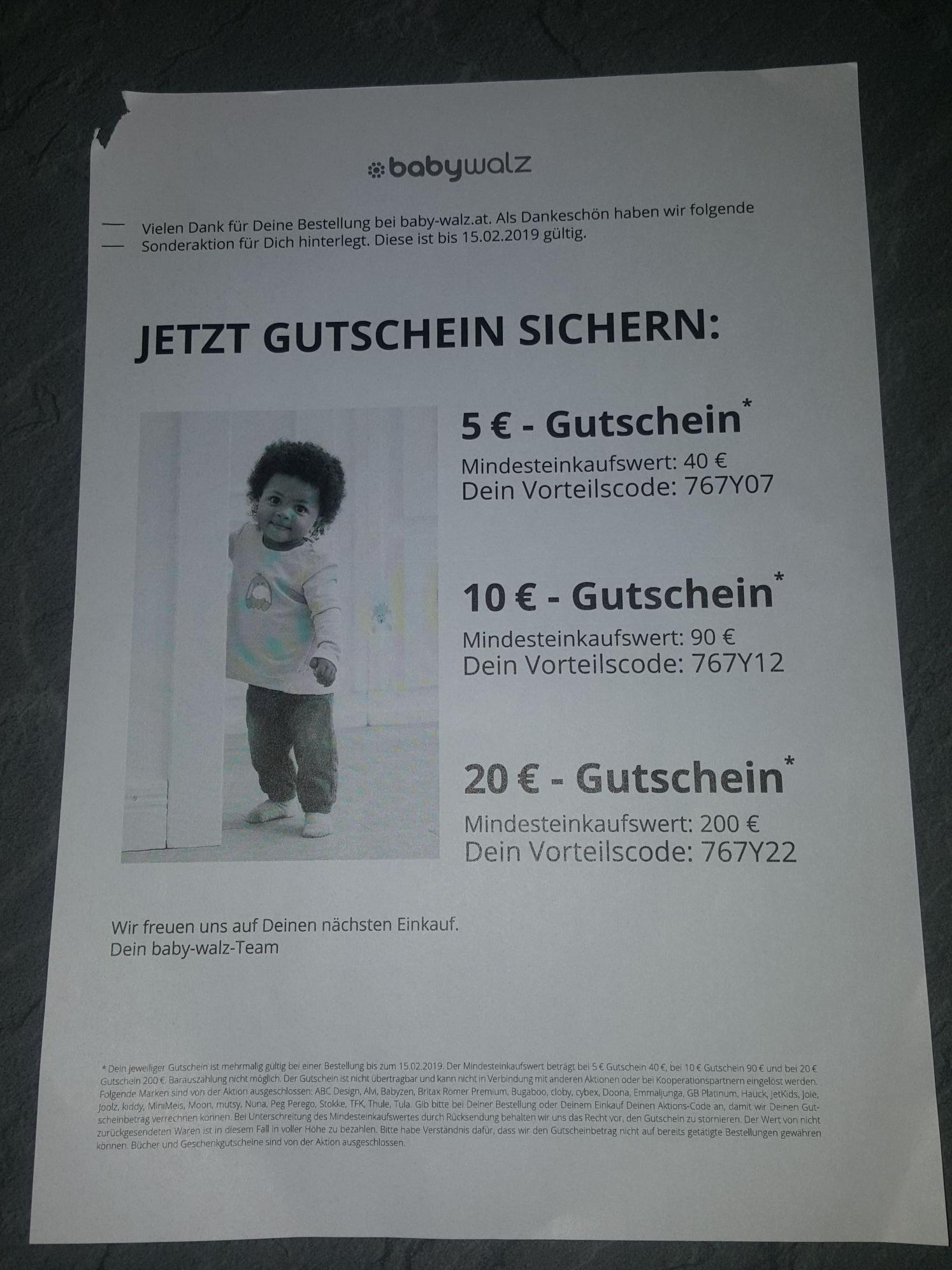 BABY Walz Gutscheine