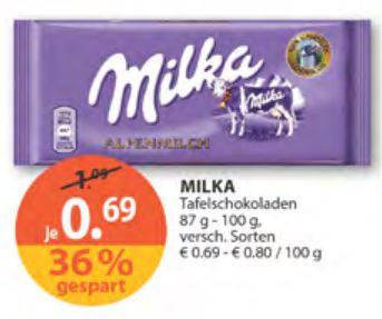 [Müller] Milka Schokolade 87g - 100g