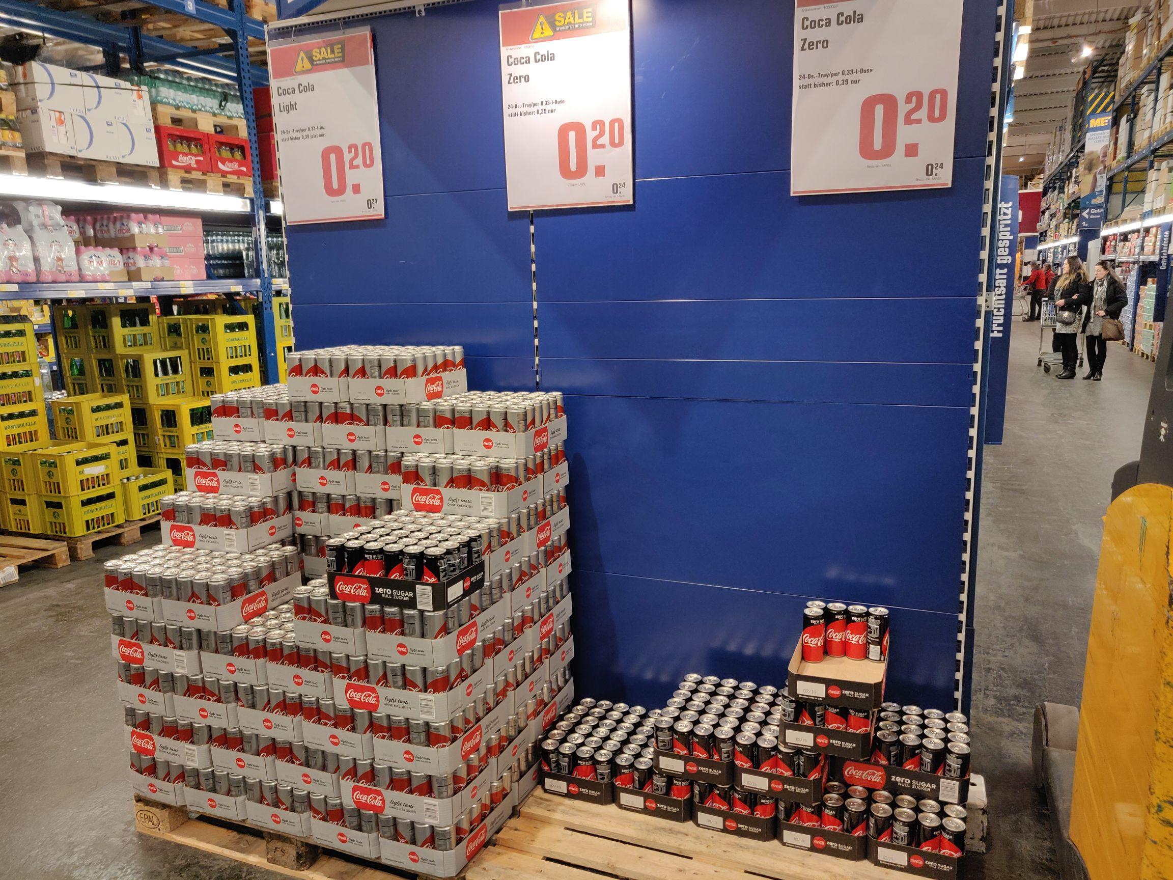 Original Coca Cola Zero, Coca Cola Light Dose 0,33ml um 24Cent bei  METRO!